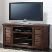 Vicente TV Stand w/2 Louvered Doors & 3 Media Compartments in Dark Oak