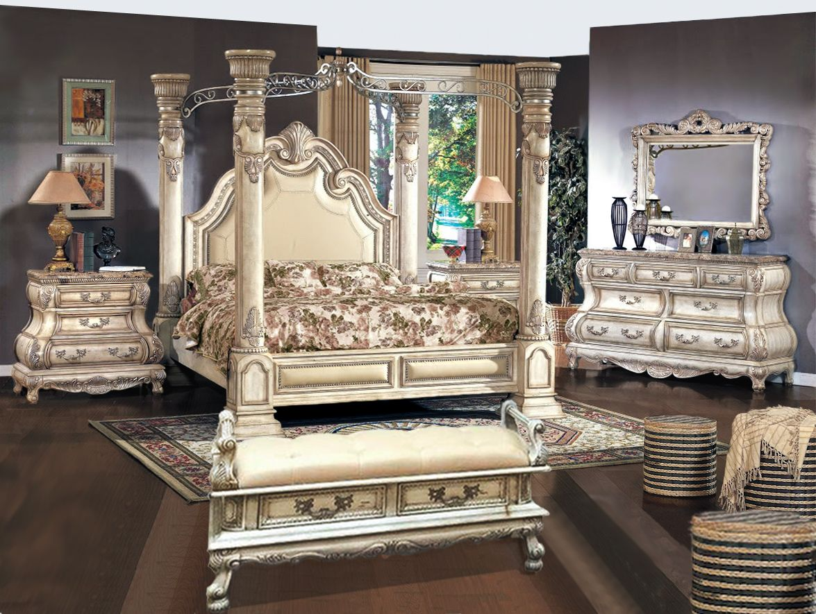 Victorian Inspired Antique White Luxury California King