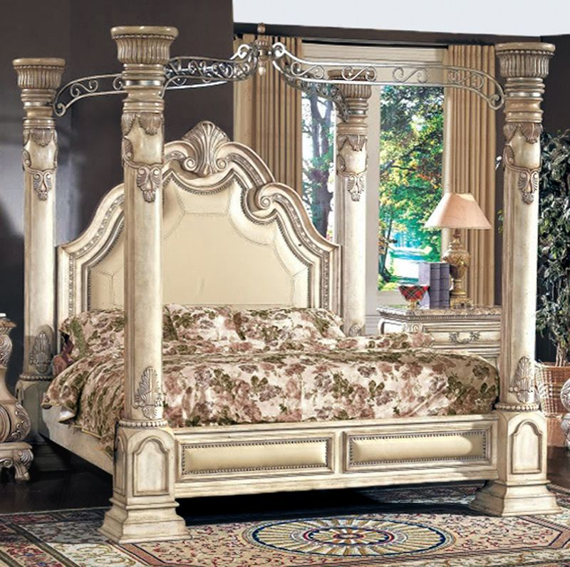 victorian style king size canopy bed | antique white