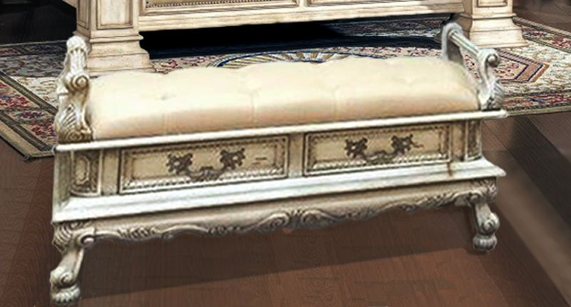 Victorian Storage Bench Antique White Storage Bench