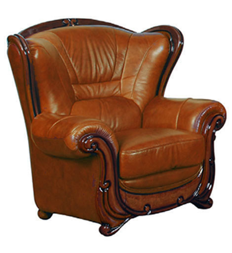 Italian Leather Sofa With Wood Trim: Viggiano Traditional Brown Genuine Italian Leather Chair