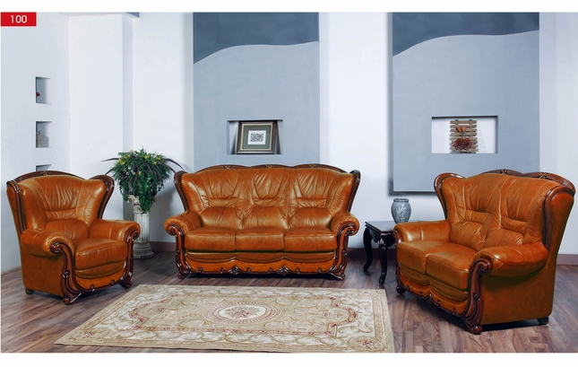 Viggiano Traditional Brown Genuine Italian Leather Sofa Set with ...