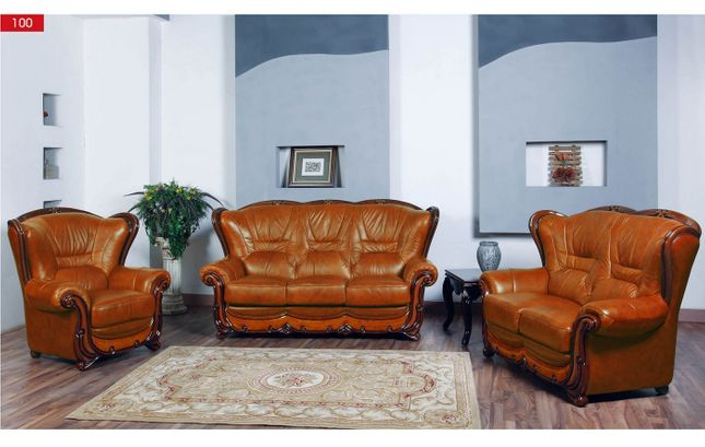 Viggiano Traditional Brown Genuine Italian Leather Sofa Set ...