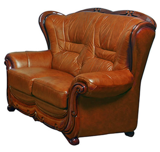Viggiano Traditional Brown Genuine Italian Leather Loveseat With Wood Trim
