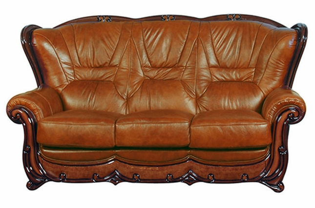 Viggiano Traditional Brown Genuine Italian Leather Sofa with ...