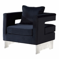 Vincent Contemporary Black Velvet Accent Chair with Acrylic Base