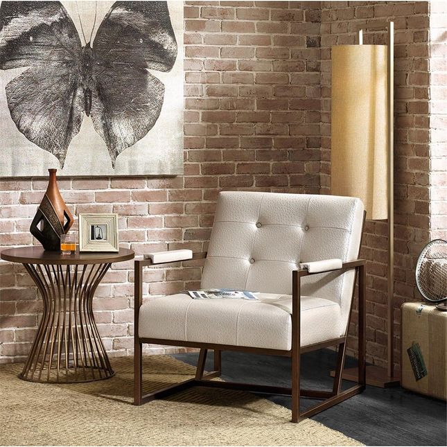 Waldorf Lounge Synthetic Leather, Metal White Contemporary INK+IVY IIF18-0103