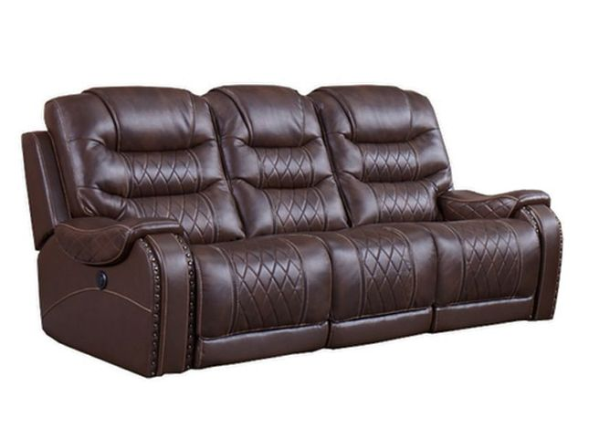 Webber Transitional Power Dual Recliner Sofa Finished in Sumatra w/ Kaide Motor