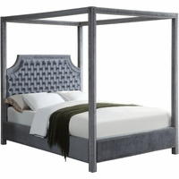 Wellington Button Tufted Grey Velvet King Canopy Bed with Nailhead Trim