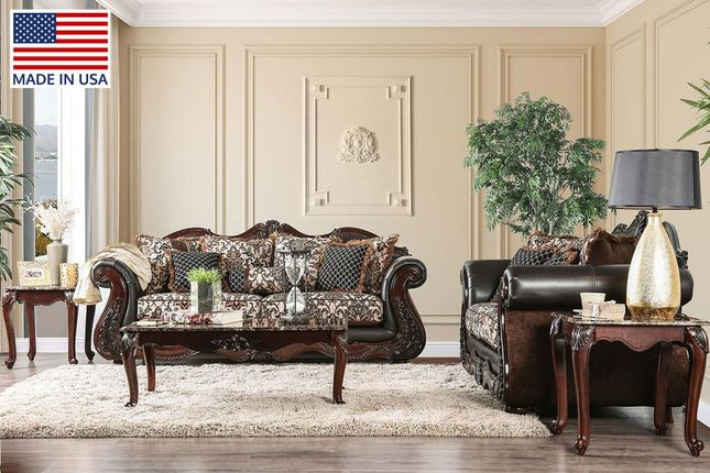 Traditional Victorian Brown Fabric Upholstered Living Room Furniture Set