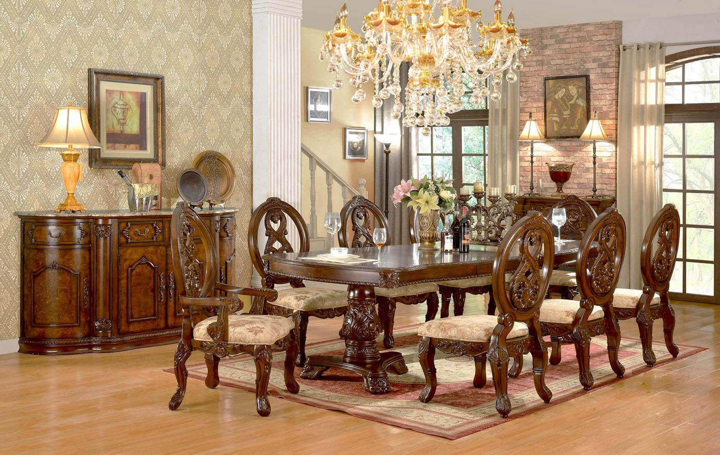 Windham Formal Dining Set Cherry Brown, Cherry Wood Dining Room Sets