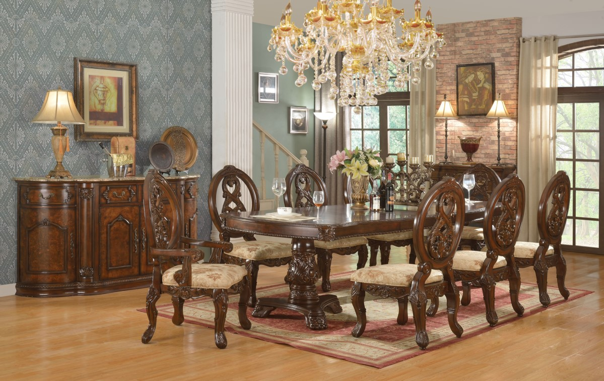 traditional dining room set | Windham Formal Dining Set Cherry Brown Wood Carved Dining ...