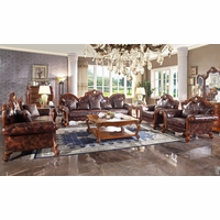 Traditional Brown Quilted Upholstered Oversized Sofa Set Carved Wood Nailhead trim
