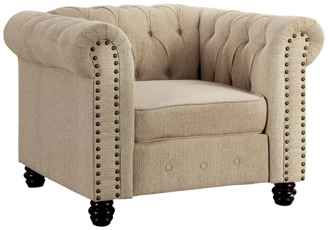 Winifred Traditional Chesterfield Chair in Ivory Button Tufted Upholstery