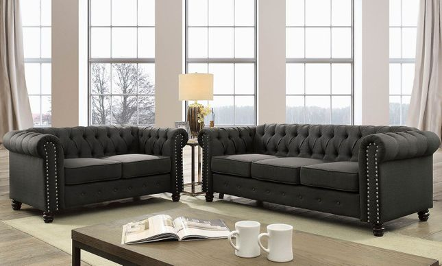 Winifred Traditional Chesterfield Sofa Loveseat Set In Gray Tufted