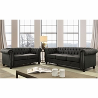 Winifred Traditional Chesterfield Sofa & Loveseat Set in Gray Tufted Upholstery