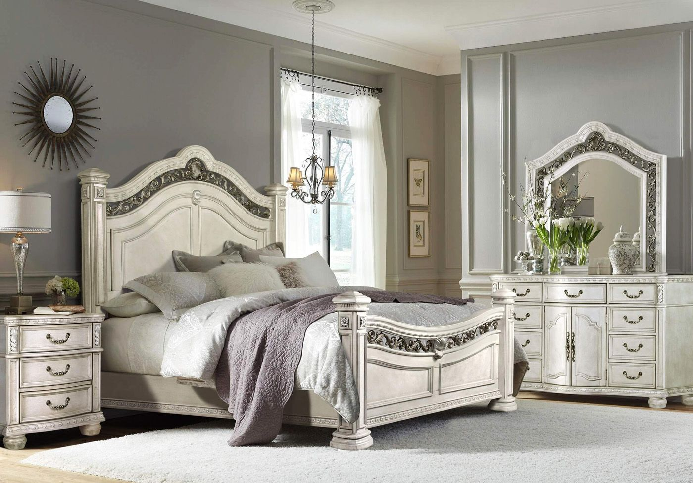 Dorada Ii Antique White Traditional Bedroom Set Poster Bed