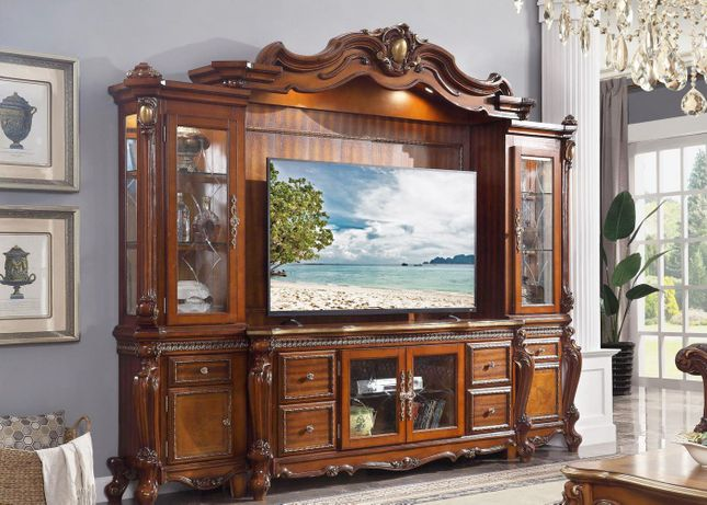 Traditional TV Entertainment Center Carved Wood Wall Unit Cherry Oak Finish
