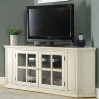 Zadie Transitional Corner TV Stand with Glass Doors in Antique White