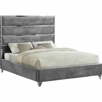 Zuma Contemporary Grey Velvet Queen Platform Bed w/ Chrome Channel & Trim Accent