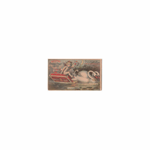 BUCHANAN's CARBOLIC SOAP  - Vintage Trade Card - Swans Pulling Cherub on a Bar of Soap