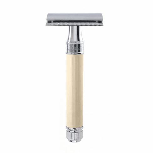 """Edwin Jagger Diffusion DE87RC14bl - Ivory Rubber Coated """"Extra Grip"""" Handle"""