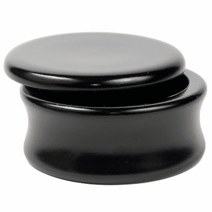 Genuine Exotic Hand Carved Mango Wood Shaving Soap Bowl - BLACK LAQUER  -from Parker Safety Razor