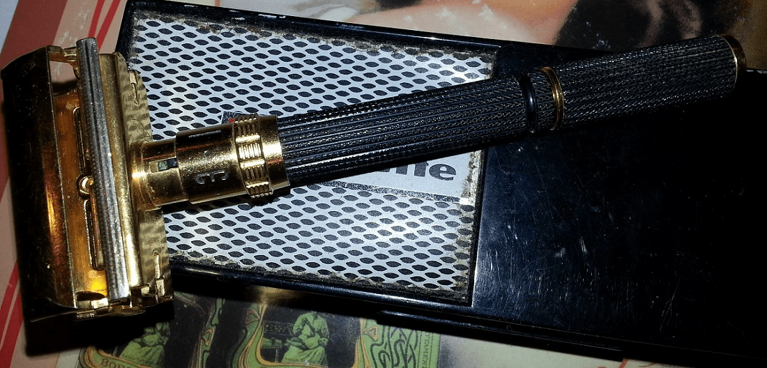 Gillette Gold Plated Long Handle Super Adjustable TTO - Date Code O-3, 1969
