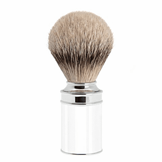 MUEHLE - 099-M-107 - Silver Tip Badger - Highest Grade, Shimmering White Acrylic with Wide Chrome Accent Ring(ONLY ONE LEFT)