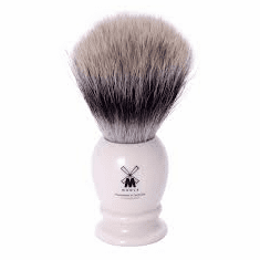 Muehle Classic 31-K-57 PURIST Shave Brush - Synthetic (V2) SilverTip Fiber Loft - Ivory & Chrome