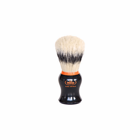 Omega #11574 -  Classic Ebony Handle - Banded  Boar with Orange Pizzaz