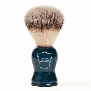 PARKER Blue Wood Synthetic Bristle Shave Brush + FREE Acrylic Lucite Stand