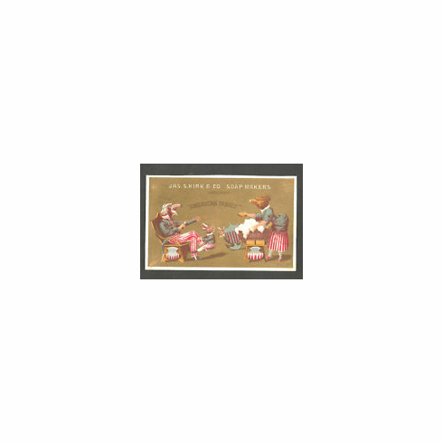 """Vintage Jas S Kirk & Co Soap Makers, Chicago """"American Family"""" Soap - American Family as Patriotic Eagles Enjoying Laundry Day - Trade Card"""