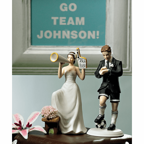 #1 Fan Cheering Bride Figurine with Soccer Groom