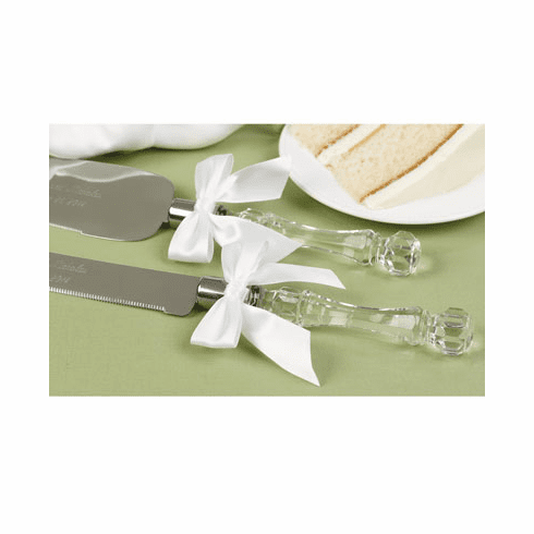 Acrylic Handle and Bows Cake Cutter and Serving Set