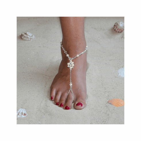 Barefoot Bridal Sandal Foot Jewelry with Crystal and Pearl Cluster