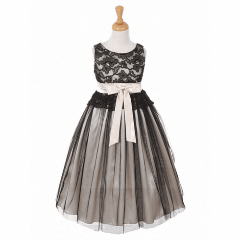 Black Lace Bodice w/ Double Tulle Over Charmeuse ~ Color Options