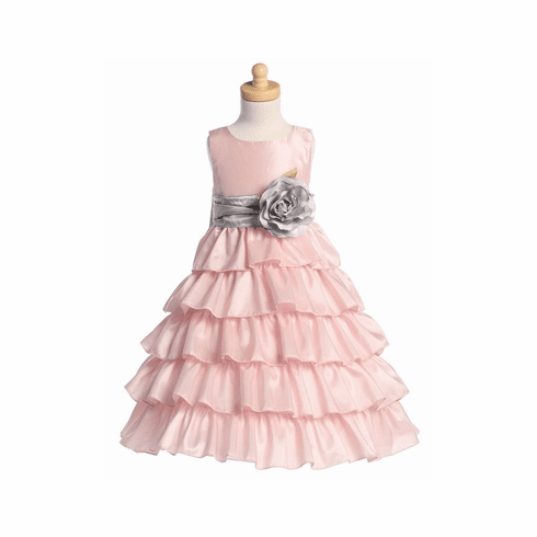 Blossom Pink Sleeveless Taffeta Bodice Layered Skirt Detachable Sash -13 colors