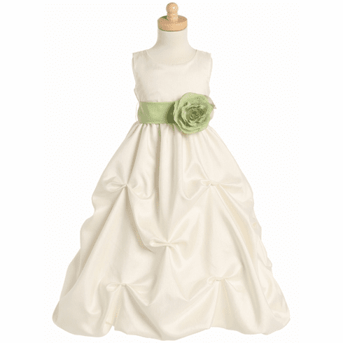 Blossom Shantung Organza Dress w/Detachable Sash & Flower