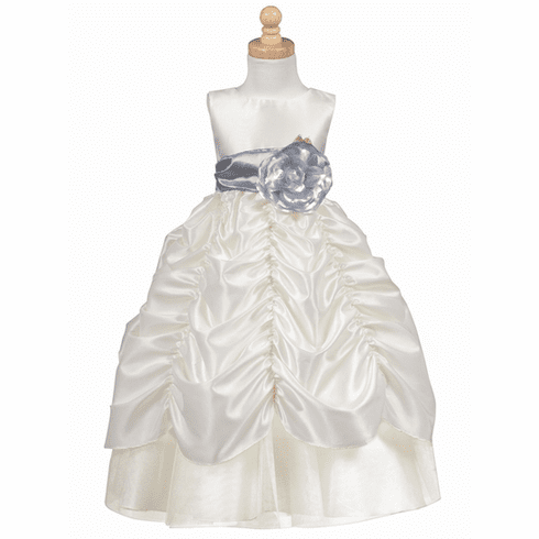 Blossom - Taffeta Dress w/ Shirred Skirt and Detachable Sash & Flower