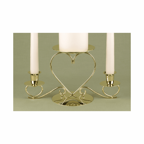 Brass Triple Heart Candle Holder
