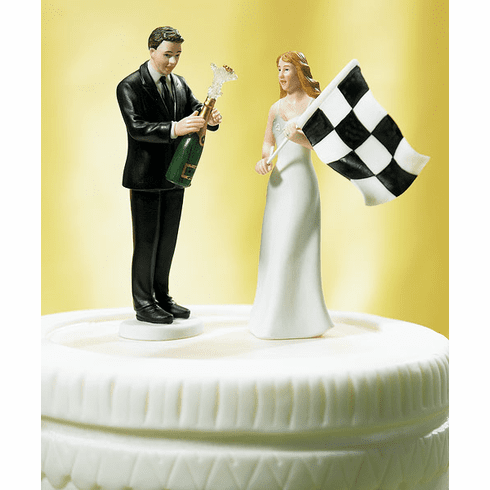 """Bride """"At the Finish Line"""" and Victorious Groom Figurines"""