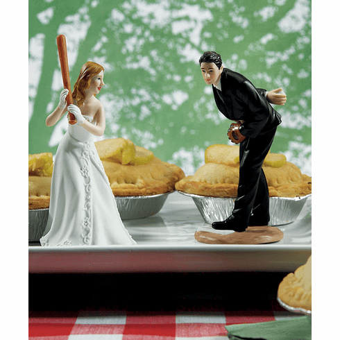 Bride Ready To Hit A Home Run with Groom Pitching Cake Toppers