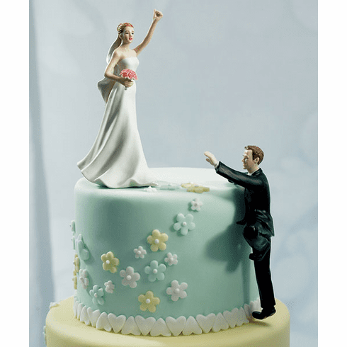 Climbing Groom and Victorious Bride Cake Topper