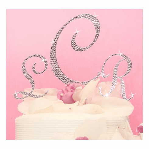 Completely Covered in Crystal Monogram Caketop