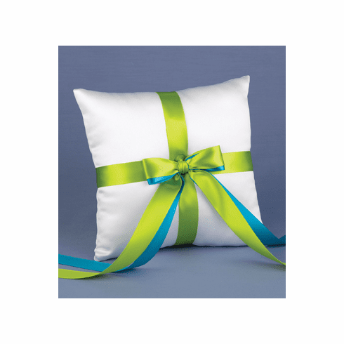 Custom 2-Ribbon Color White Pillow - 30 ribbon colors