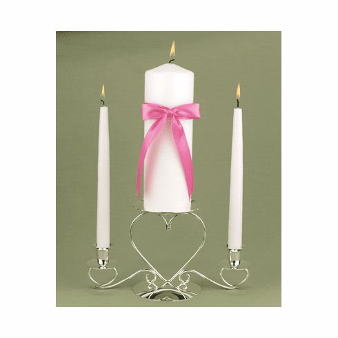 Customized with Color White Unity Candle - 22 ribbon colors