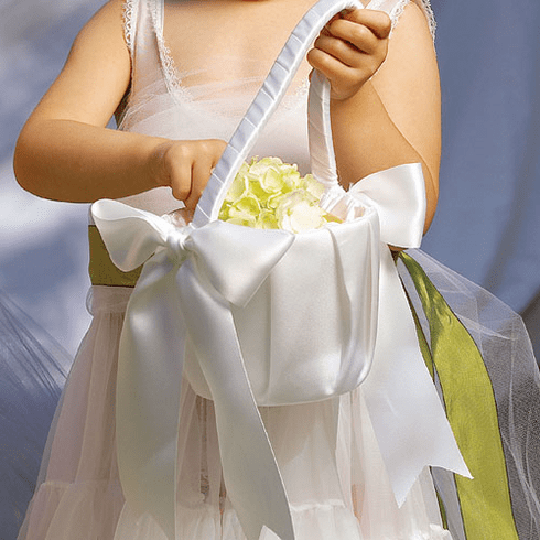 Flower Girl Basket with Classic Double Faced Satin Ribbon Bows