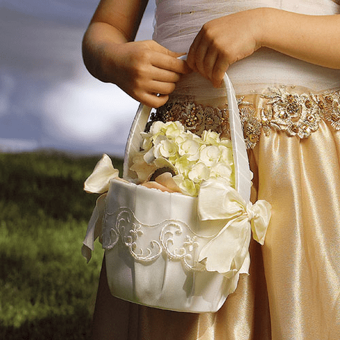 Flower Girl Basket with Embroidered Sheer Trim & Bows