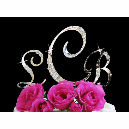 French Flower Crystal Letter Caketop - Silver or Gold